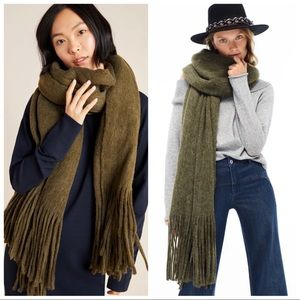 Anthropologie Moss Green Fringed Scarf